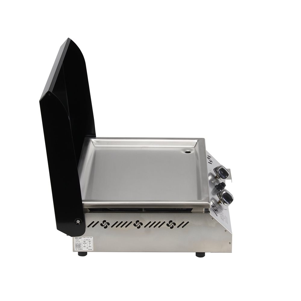 plancha gaz 6 kw plaque inox 55x45 habillage inox anti trace capot noir tom press. Black Bedroom Furniture Sets. Home Design Ideas