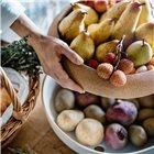 Coupe à fruits et oignons grand modèle bol de conservation plateau liège blanc Craie Emile Henry