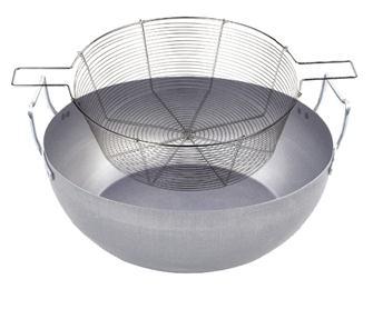 Bassine à friture en acier 28 cm avec panier en acier étamé