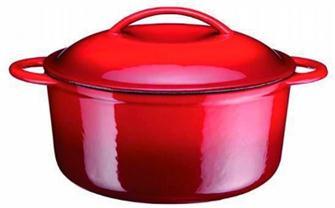 Cocotte en fonte ronde rouge 25 cm 4,3 litres