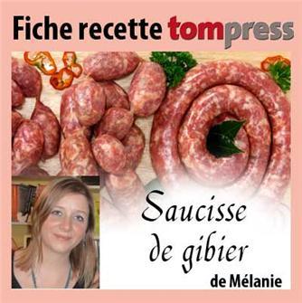Recette de la saucisse de gibier de Mélanie