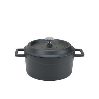 Cocotte en fonte ronde 20 cm noir mat
