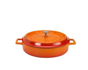 Cocotte ronde basse 24 cm orange