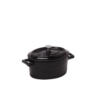 Mini cocotte ovale noir brillant en fonte