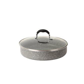 Sauteuse 28 cm en aluminium revêtement en pierre avec couvercle