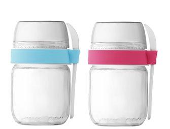 2 pots compartimentés à emporter pour yaourtière rose et bleu ciel