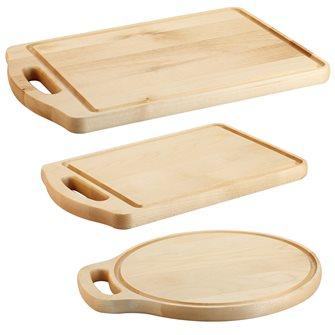 Lot de 3 planches de cuisine avec poignée en bois d´érable
