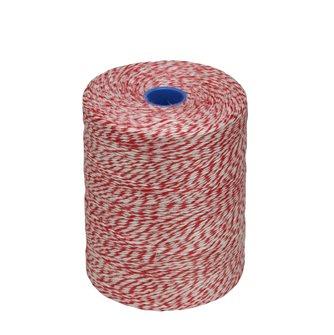 Rouleau 1kg de ficelle pour charcuterie lin rustique chinée blanche et rouge