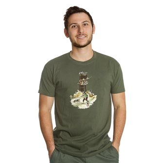 Tee shirt kaki L humour chasseur cherchant gibier de Bartavel Nature
