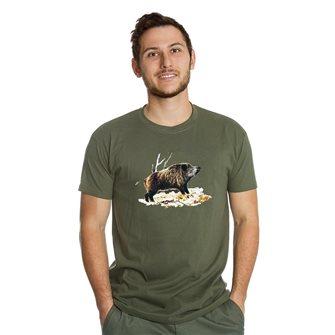 Tee shirt homme Bartavel Nature kaki sérigraphie sanglier sur lit de feuille L