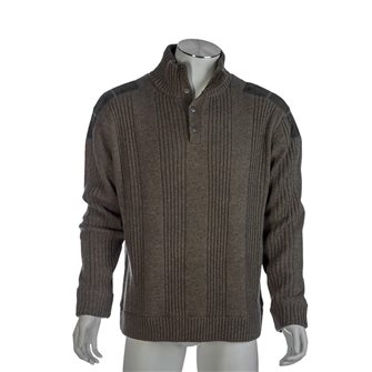 Pull homme P53 anthracite L doublé jersey effet coupe-vent