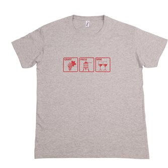 T-shirt Grape Press Wine L Tom Press gris chiné sérigraphie bordeaux