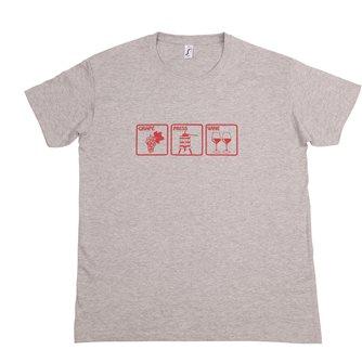 T-shirt Grape Press Wine XL Tom Press gris chiné sérigraphie bordeaux