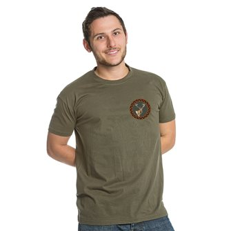 Tee shirt kaki M chasse patch cerf de Bartavel Nature