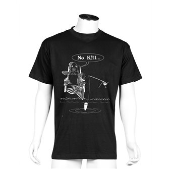 Tee shirt noir M humour pêche No kill de Bartavel Nature