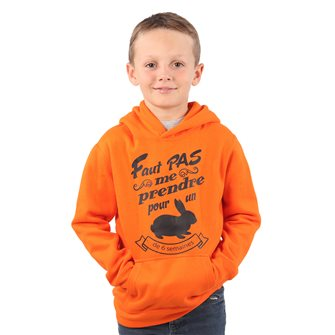 Sweat à capuche garçon orange 10 ans humoristique Bartavel