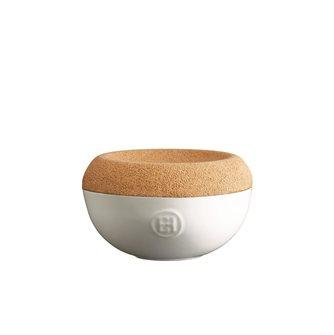 Pot à sel en céramique blanc Craie Emile Henry couvercle liège