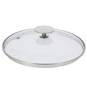 Couvercle en verre 32 cm avec bord et poignée inox