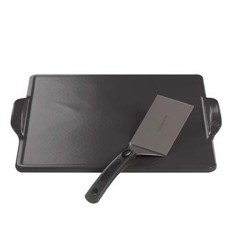 Plancha carrée réfractaire 35 cm en céramique avec pelle à plancha pour gaz et barbecue