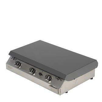 Plancha gaz 9 kW plaque inox 78x45 capot gris anthracite