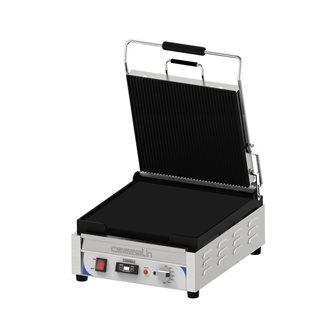 Gril contact panini 2,4 kW grandes plaques 36x36 cm lisse/rainurée avec minuteur et récupérateur à graisse