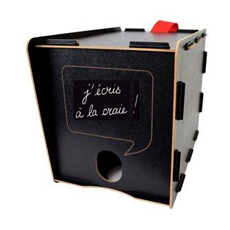 Cache-cubi noir avec craie pour bag in box bib fontaine à vin ou jus de 3 ou 5 l. et poche à glace